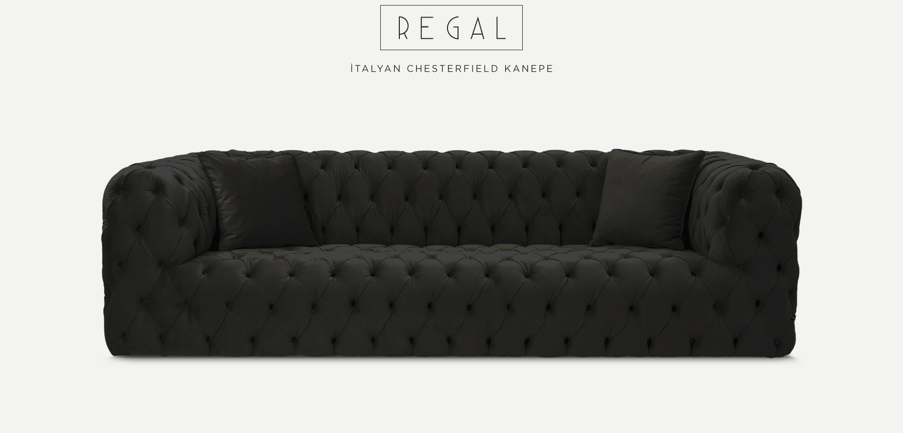 Regal Üçlü Siyah İtalyan Chesterfield'in resmi