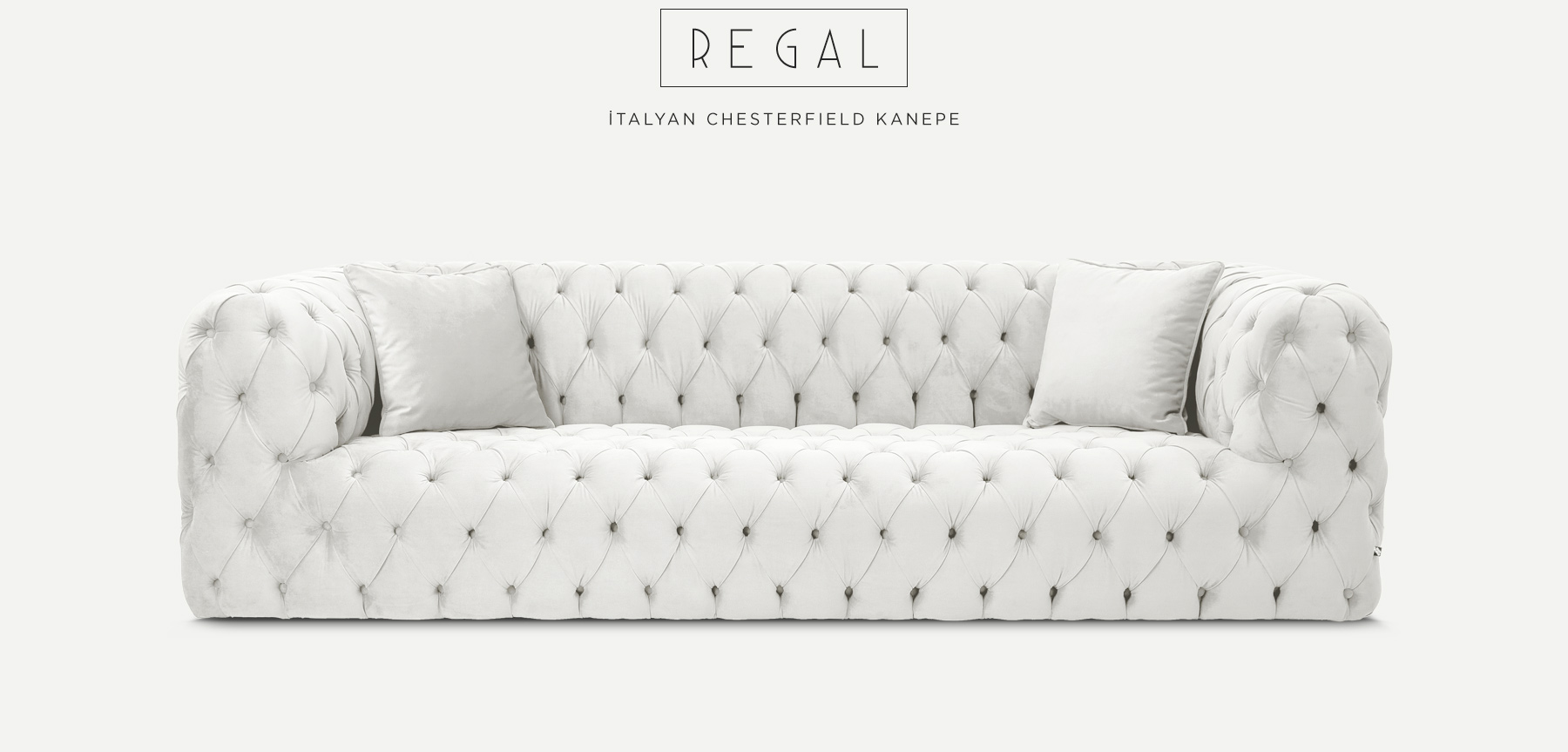 Regal Üçlü Beyaz İtalyan ChesterfIeld'in resmi