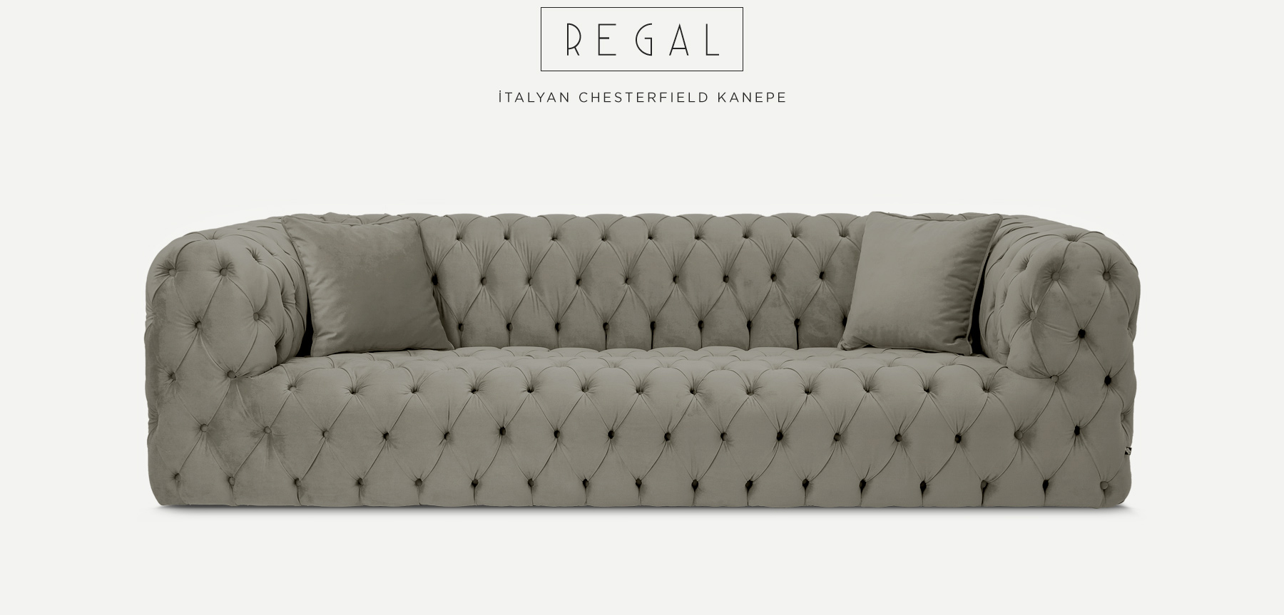 Regal Üçlü Gri İtalyan ChesterfIeld'in resmi