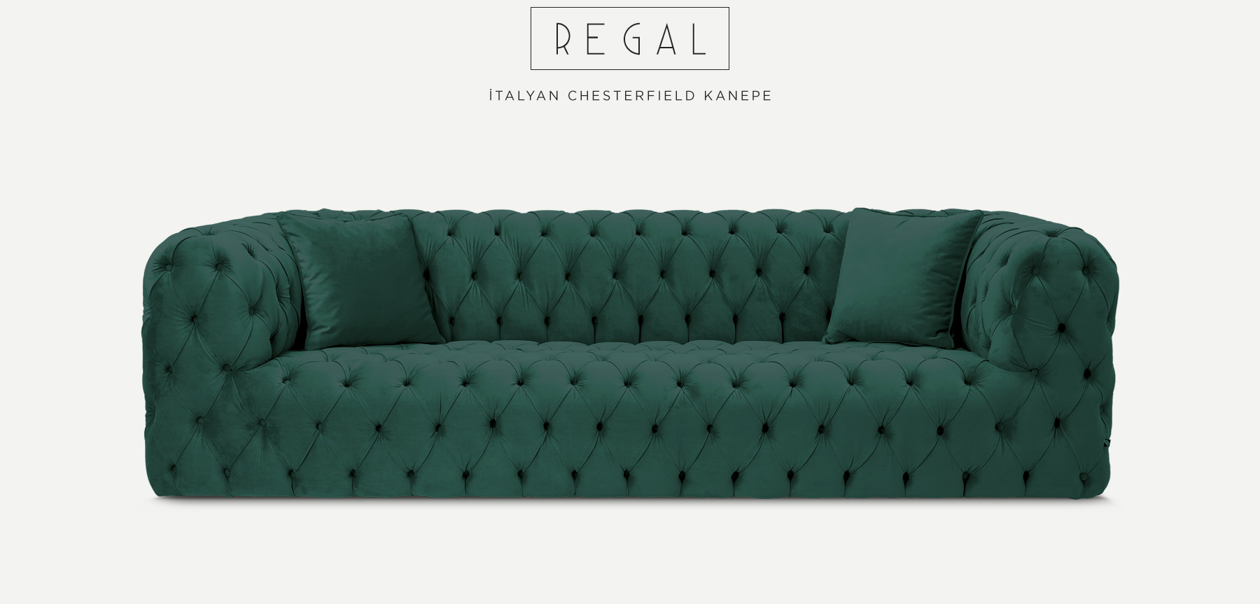 Regal Üçlü Petrol Yeşili İtalyan Chesterfield'in resmi