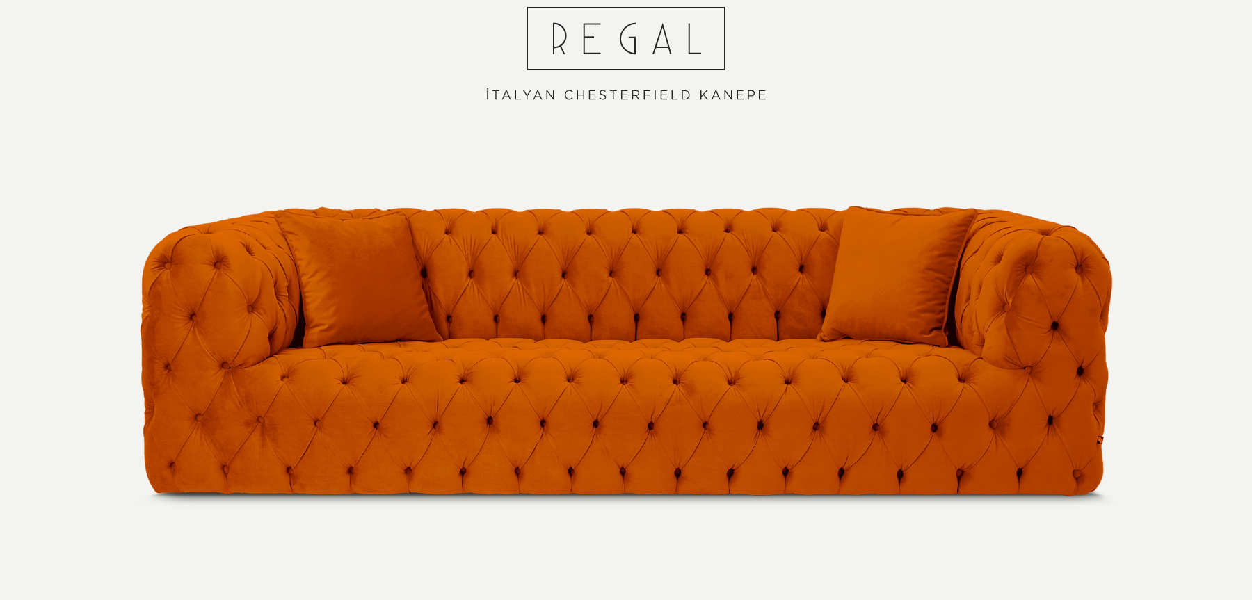 REGAL ÜÇLÜ TURUNCU İTALYAN CHESTERFIELD'in resmi