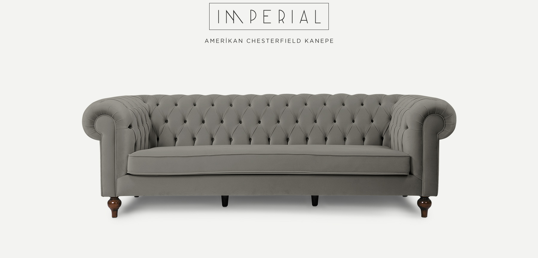 IMPERIAL Üçlü Gri Amerikan CHESTERFIELD'in resmi