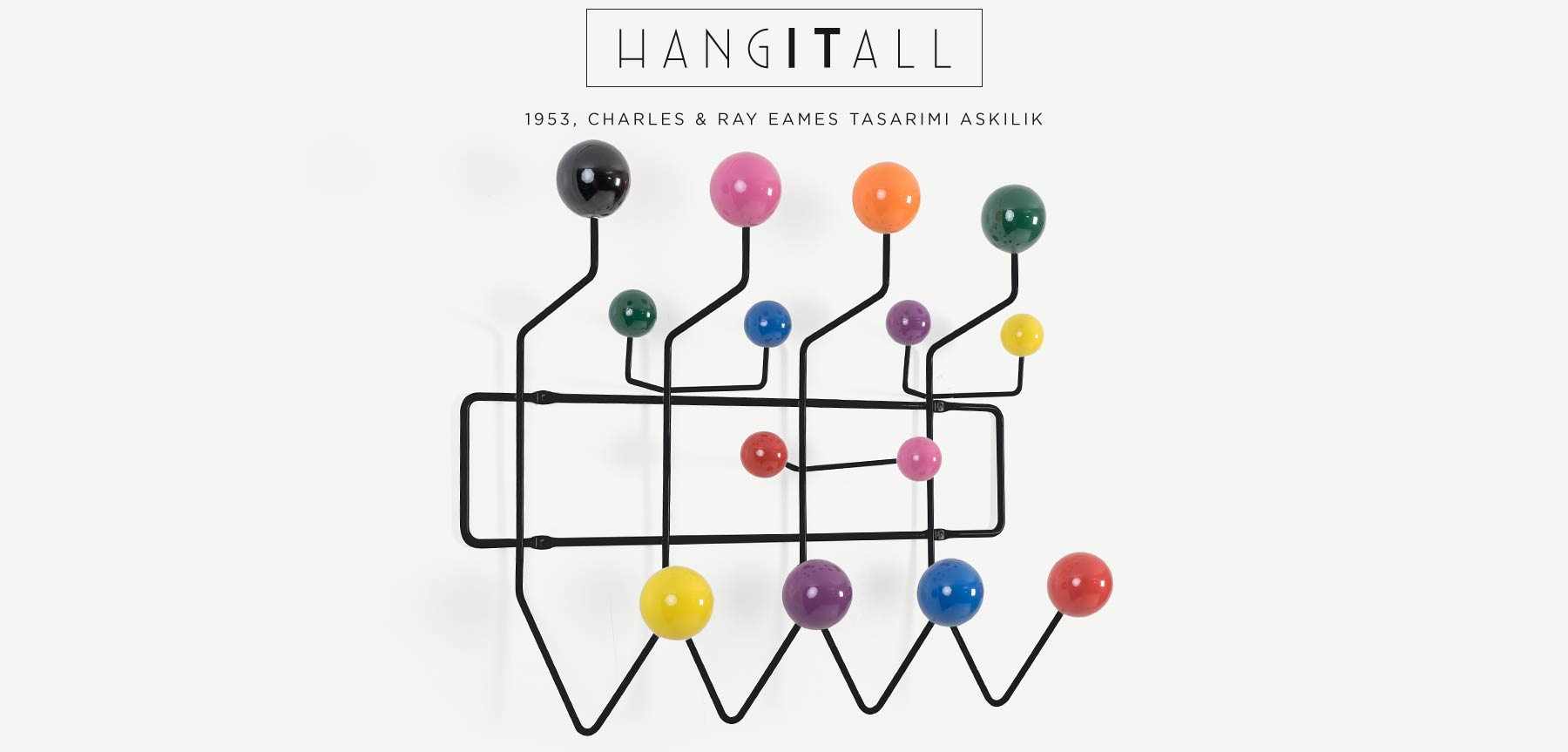 CHARLES EAMES HANG IT ALL RENKLİ TOPLU SİYAH ASKILIK'in resmi