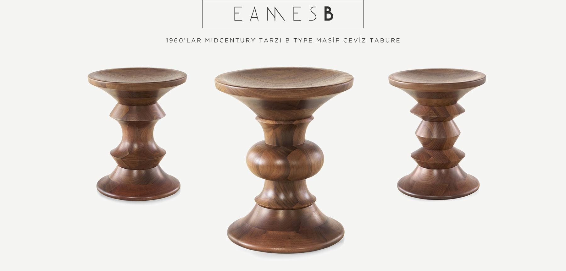 Eames Walnut Stool B Type'in resmi