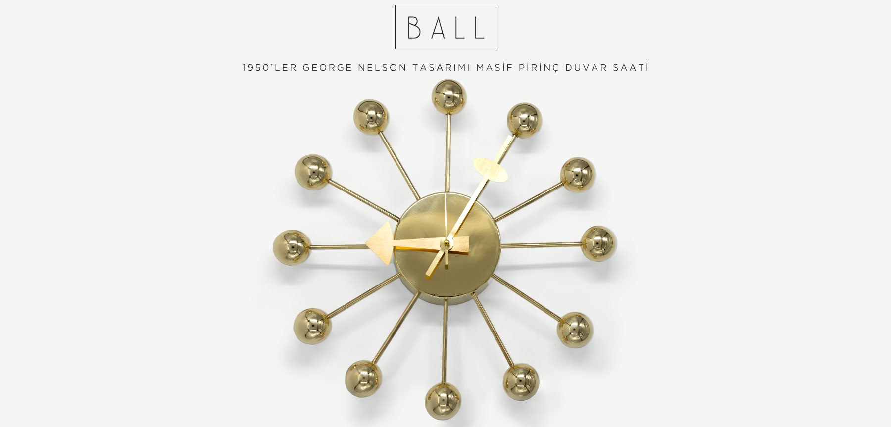 GEORGE NELSON PARLAK PİRİNÇ BALL CLOCK'in resmi